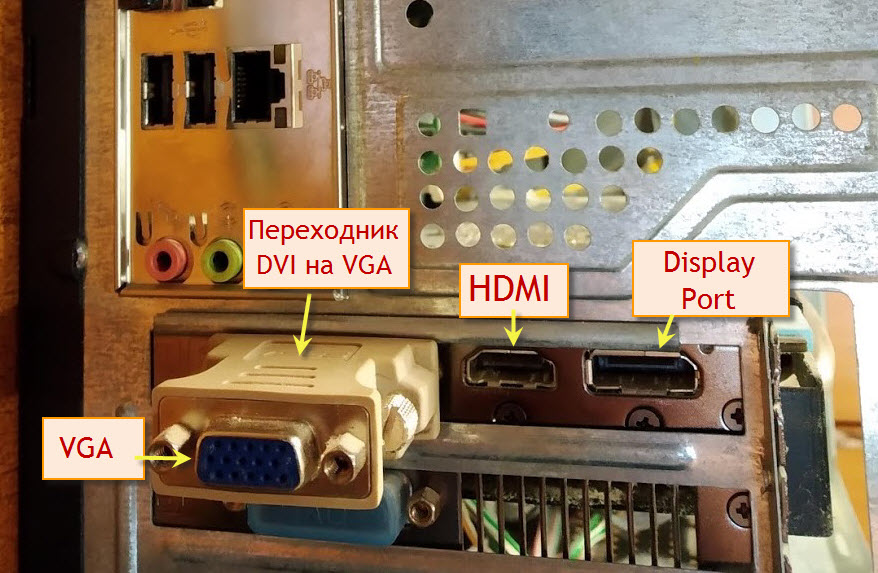 Типы разъемов на видеокарте VGA DVI HDMI Display Port