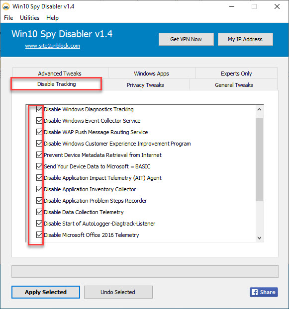Win10Spy Disable Tracking