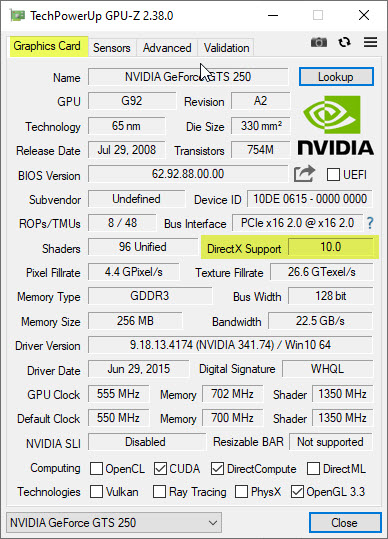 GPU-Z DirectX