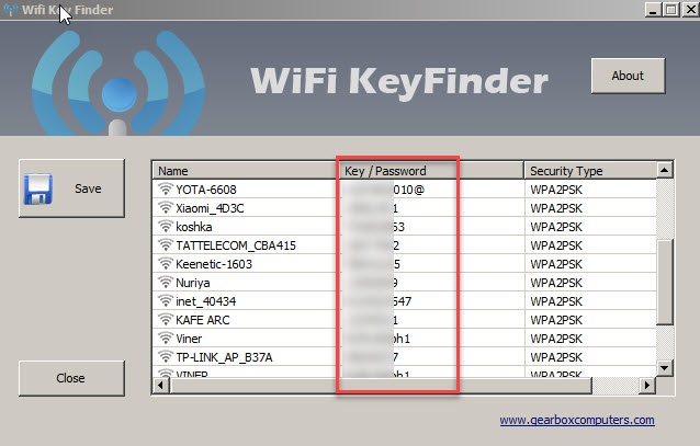 WiFi Key Finder смотрим пароли WiFi